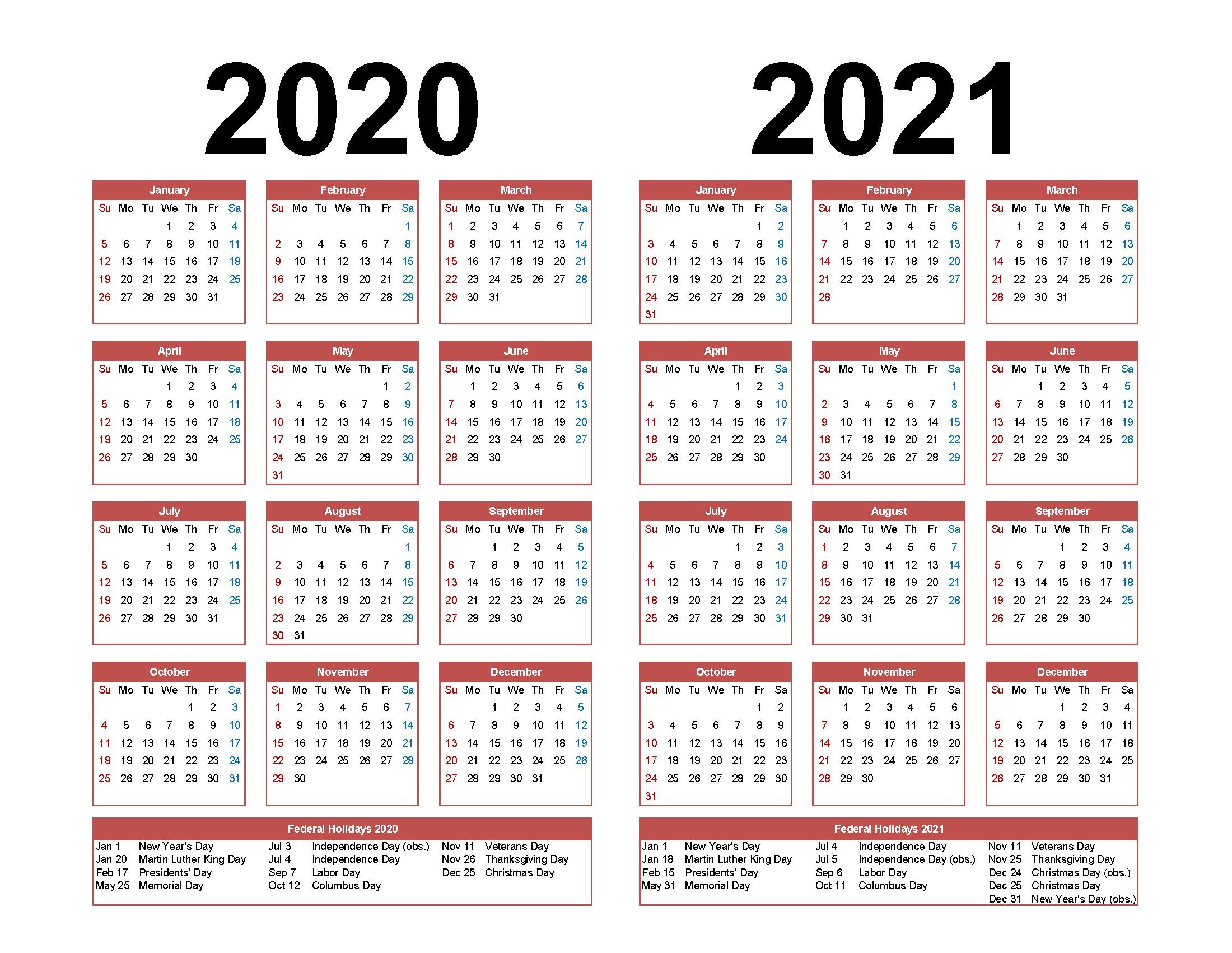 Online Printable Calendar 2021 2 Years