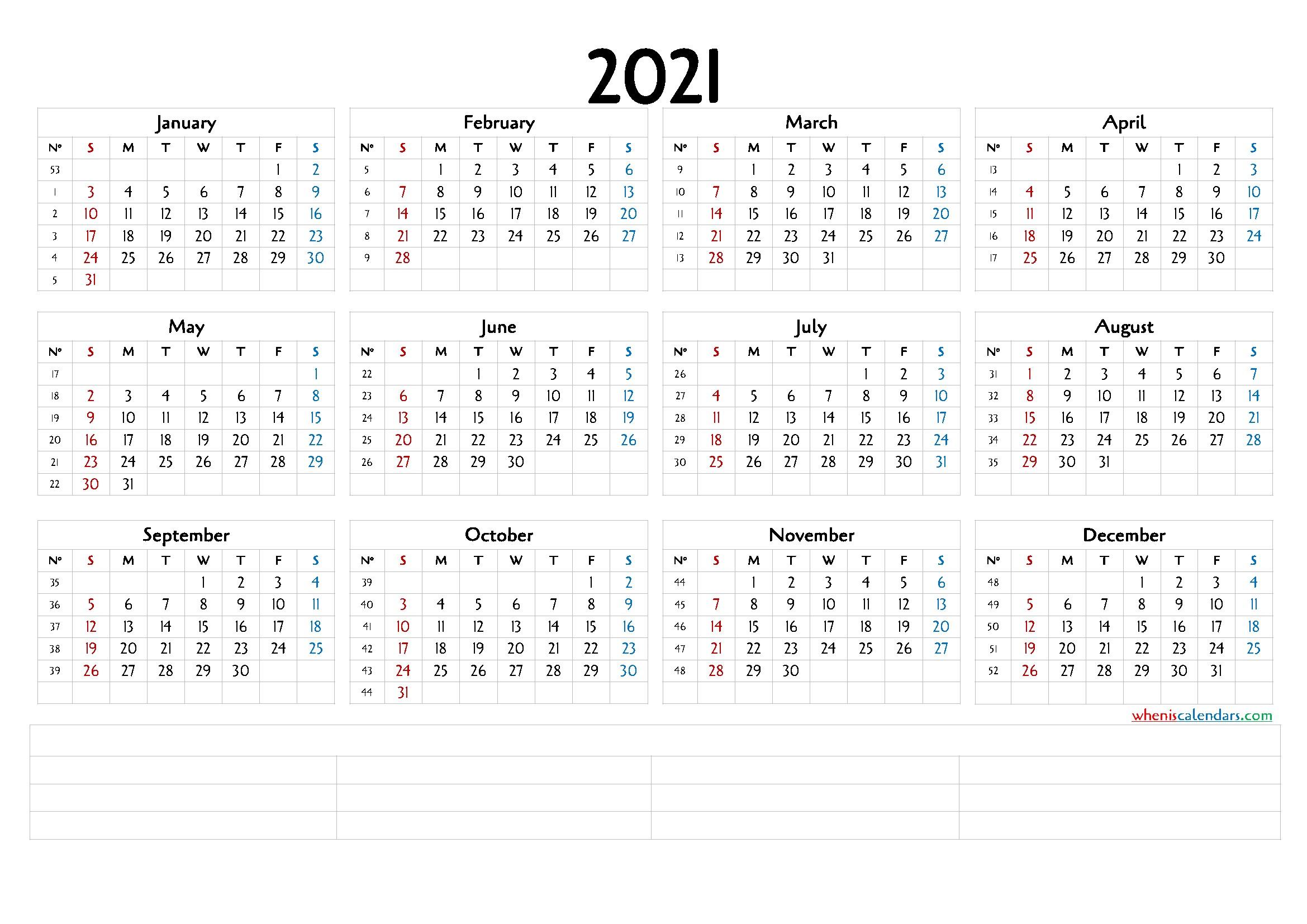 12 Month Calendar Printable 2021 6 Templates – Free 2020