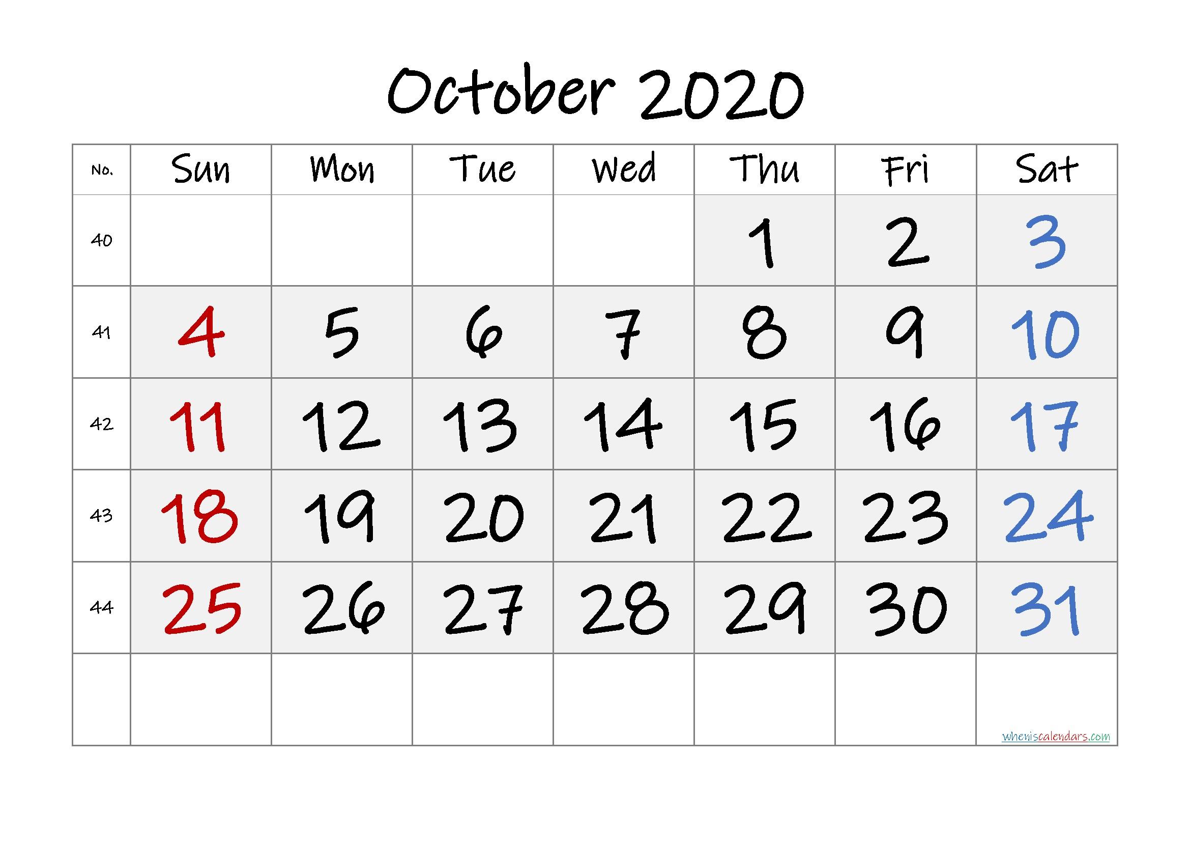 Free Printable October 2020 Calendar Premium in 2020