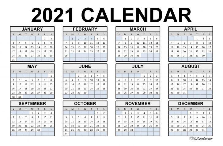Printable Desk Calendar 2021 Big Font
