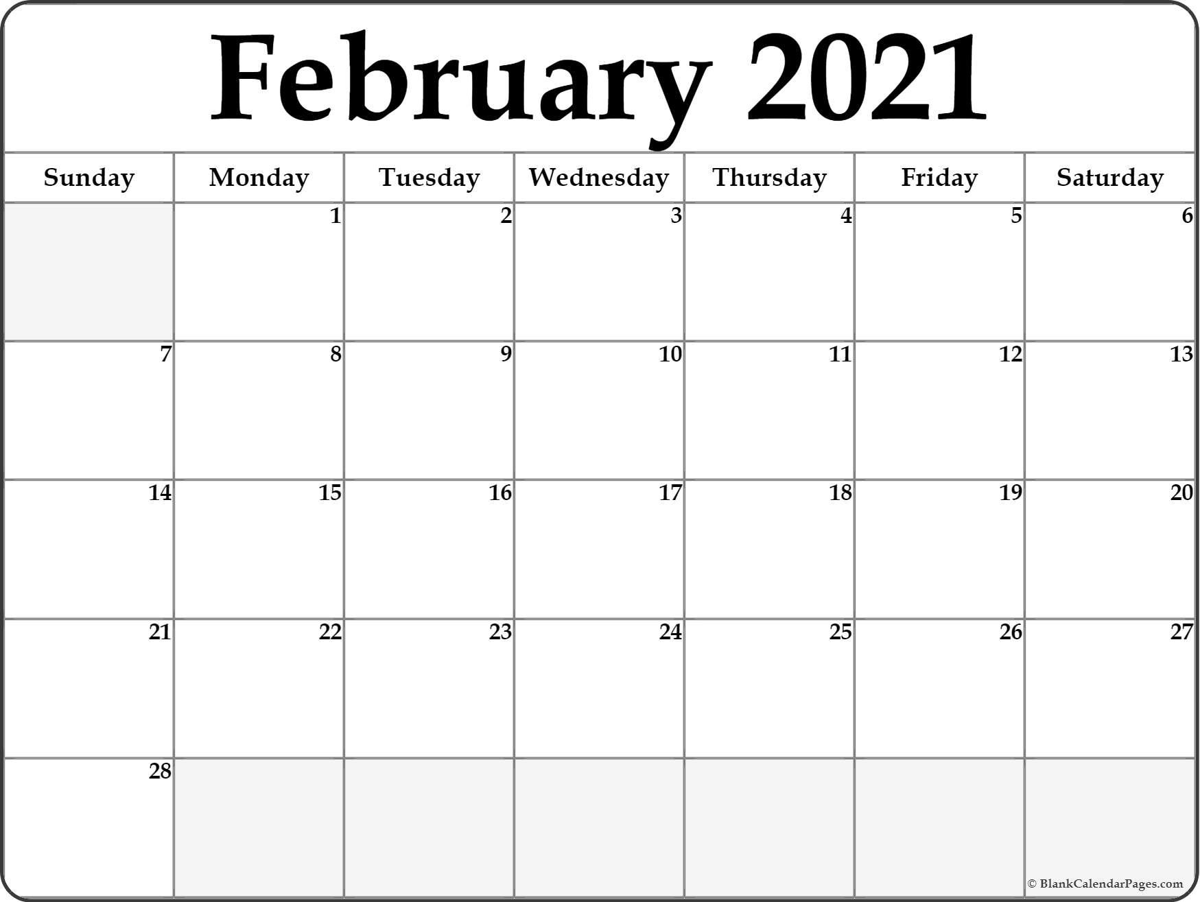 Calendar February 2021 Editable Planner
