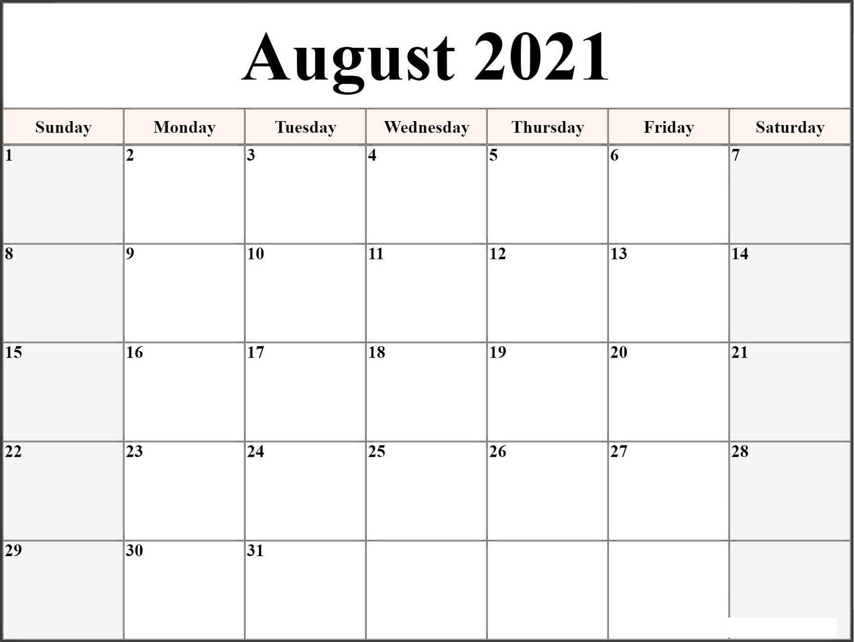 Microsoft Word Calendar Template 2021 Monthly