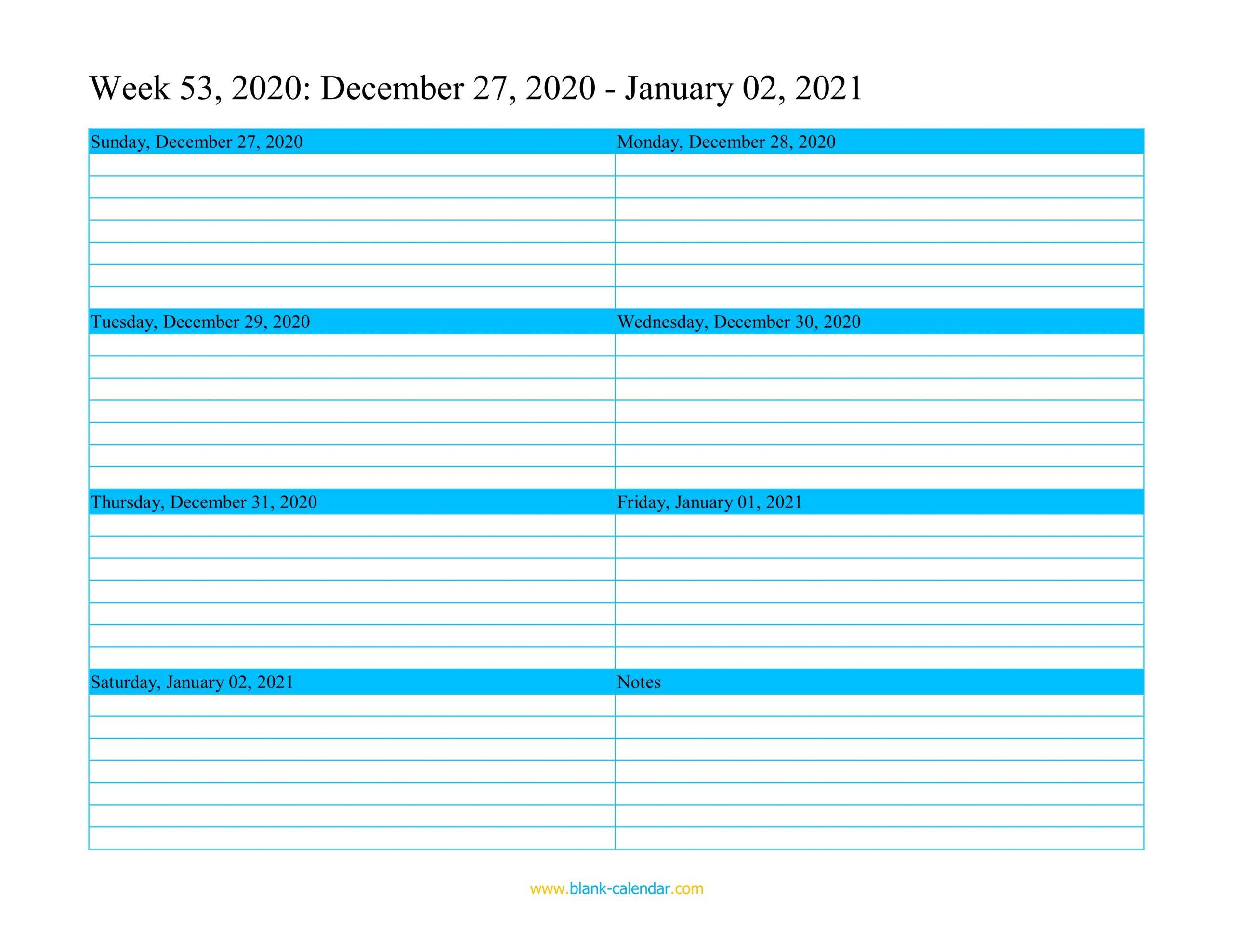 Weekly Calendar 2021 WORD EXCEL PDF