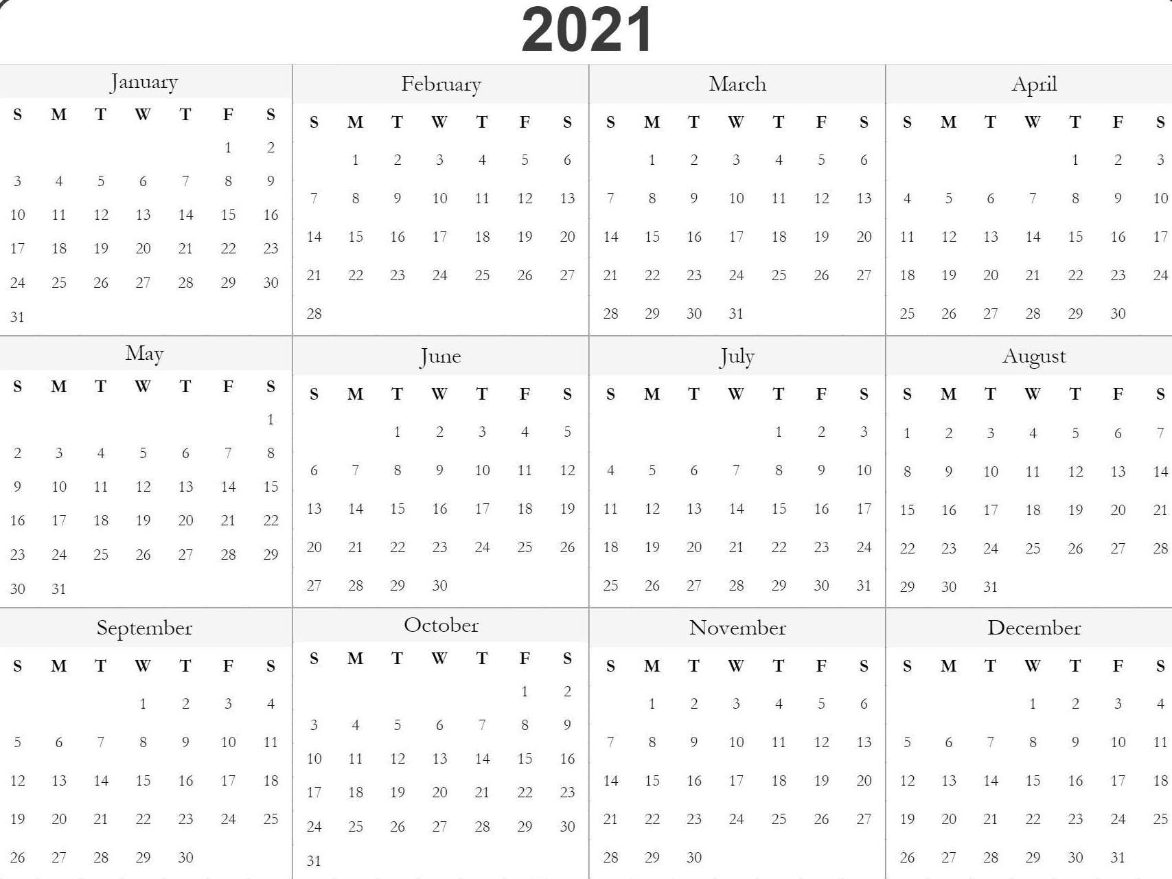 Blank Printable 2021 Calendar Template