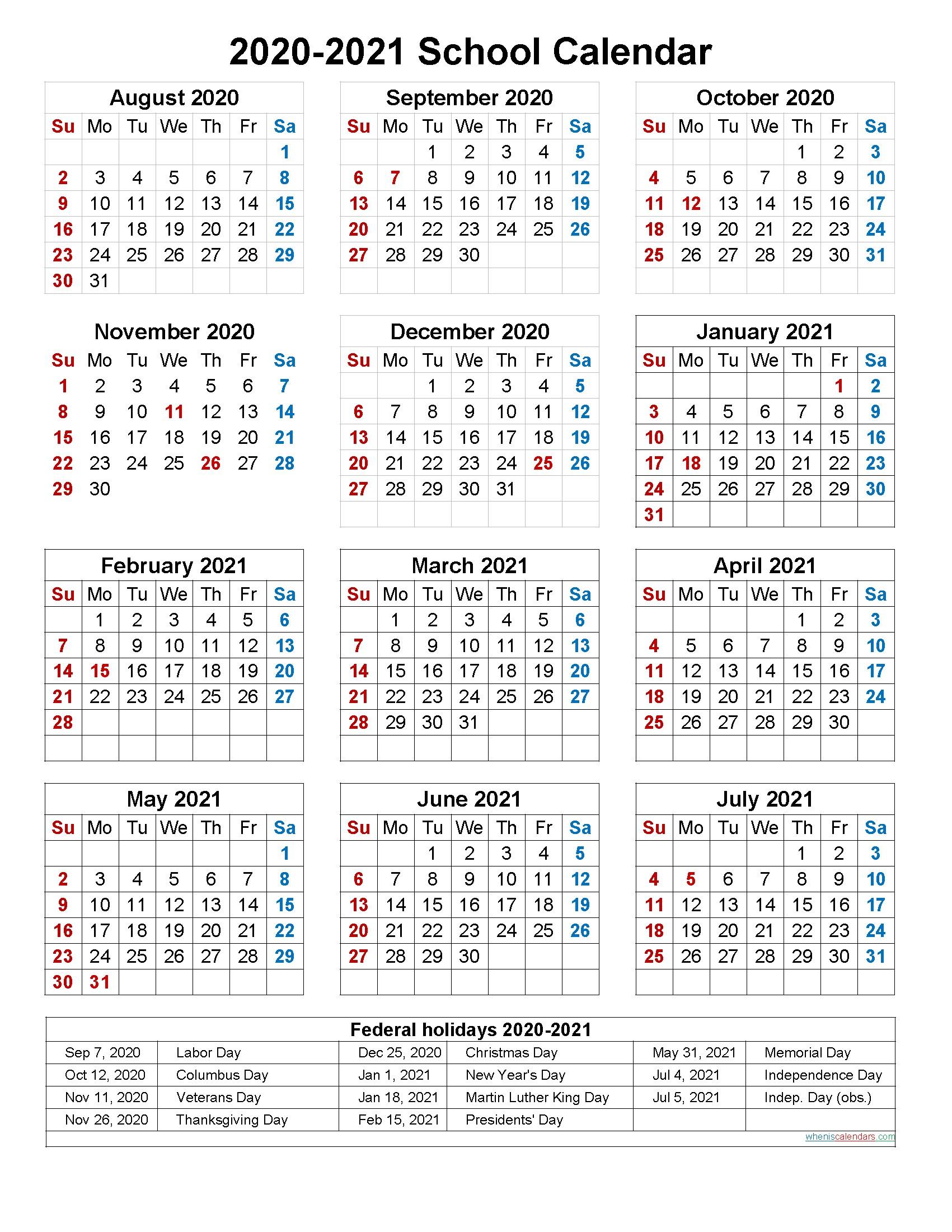School Calendar 2020 and 2021 Printable Portrait Template