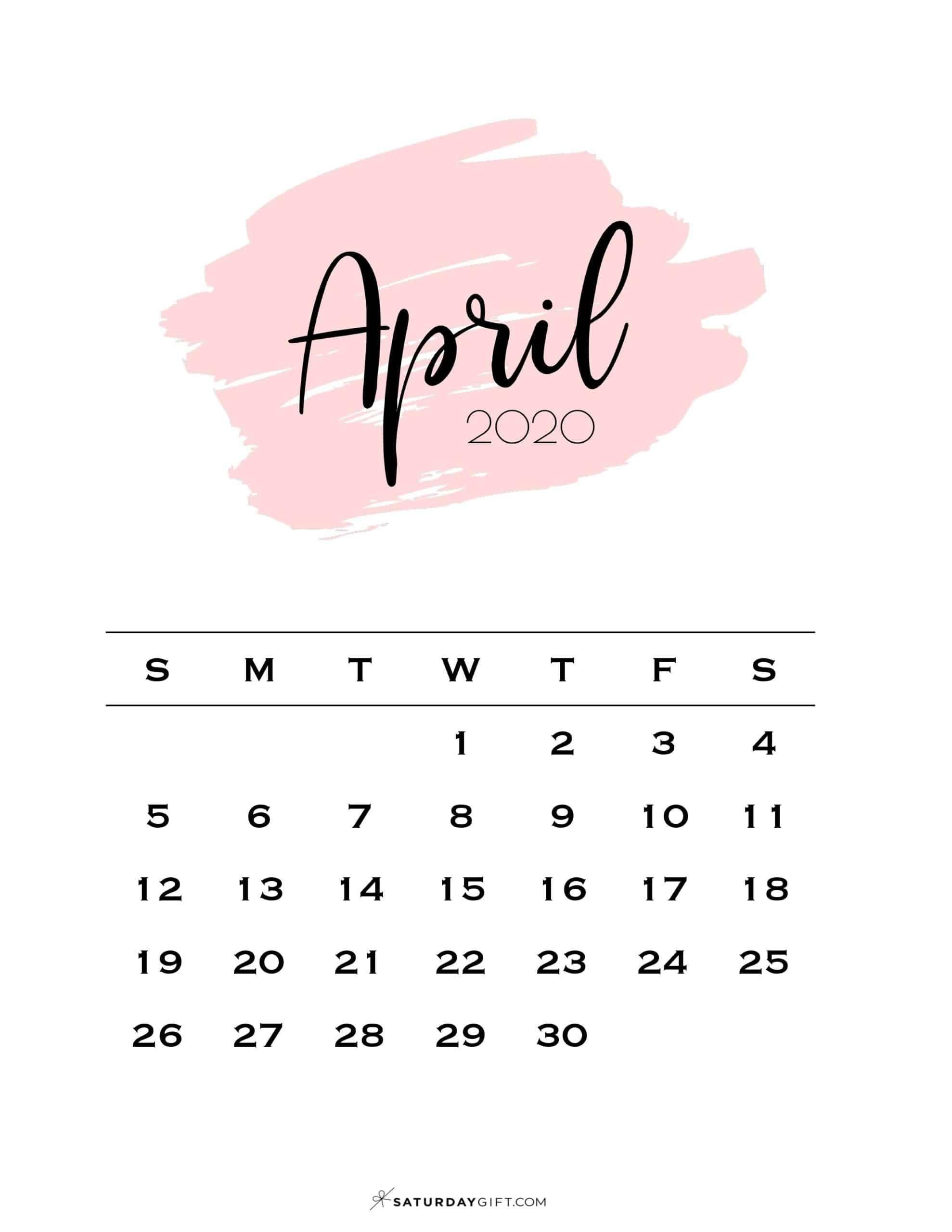 Cute & Free Printable April 2021 Calendar