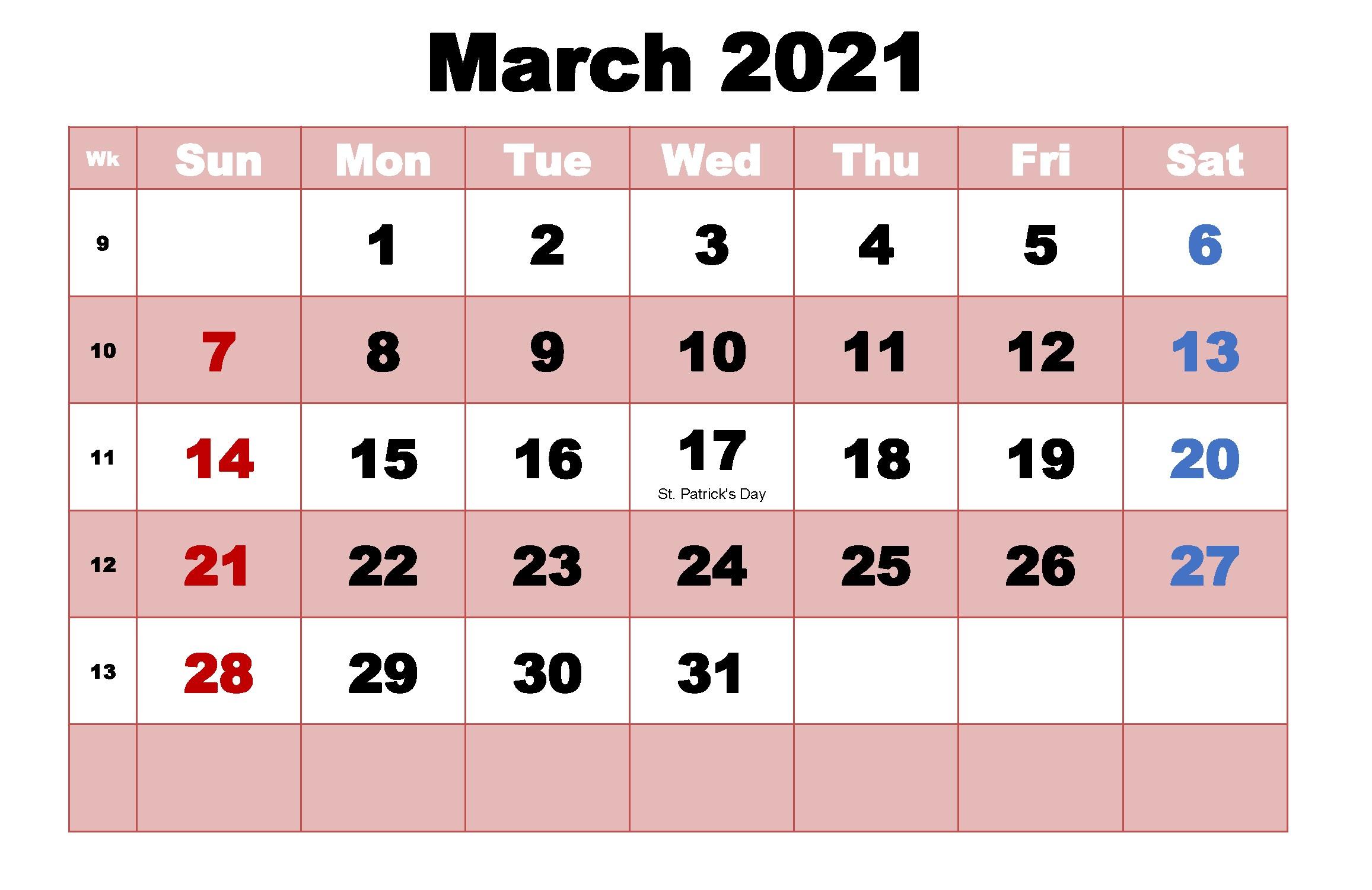 March 2021 Calendar Cute