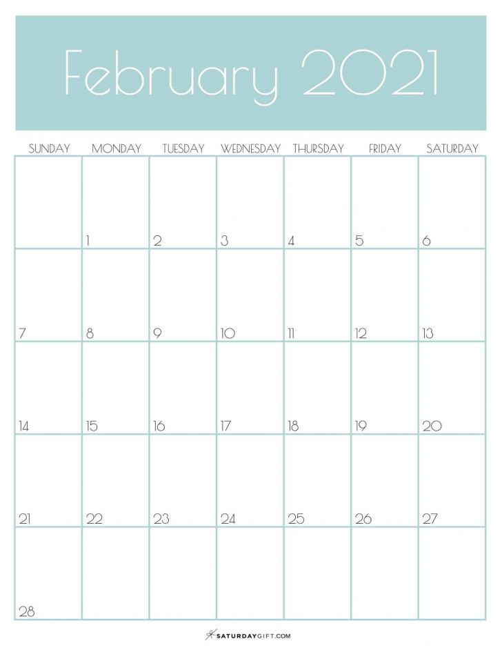 February 2021 Calendar Cute