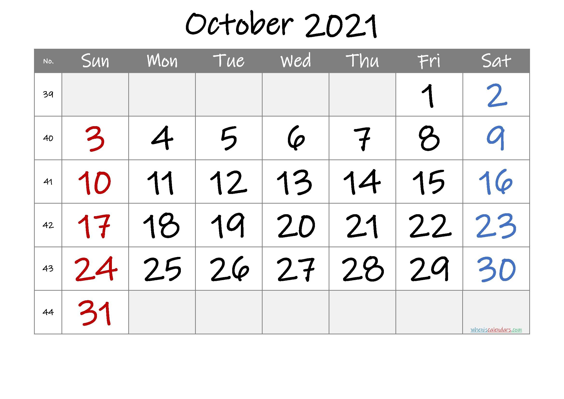 Printable October 2021 Calendar [Free Premium]