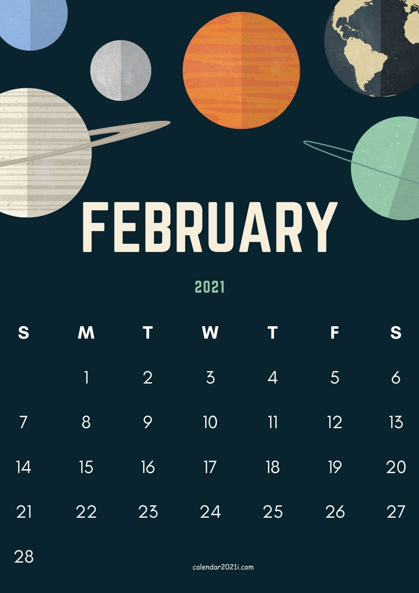 February 2021 Cute Calendar Design