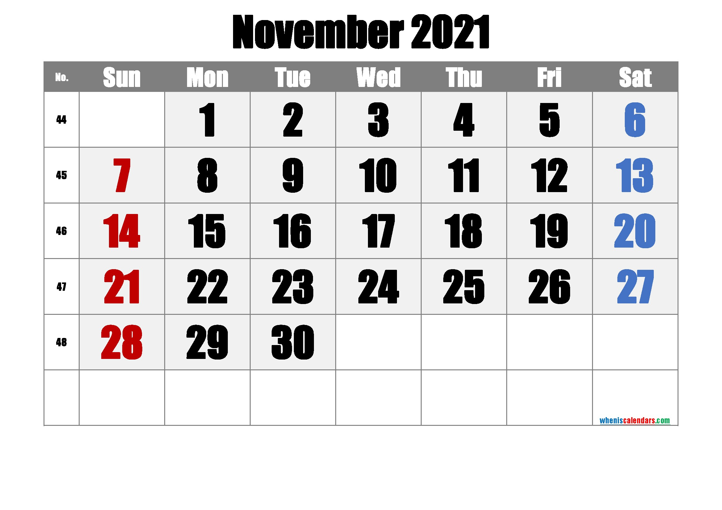 Free Printable November 2021 Calendar Premium