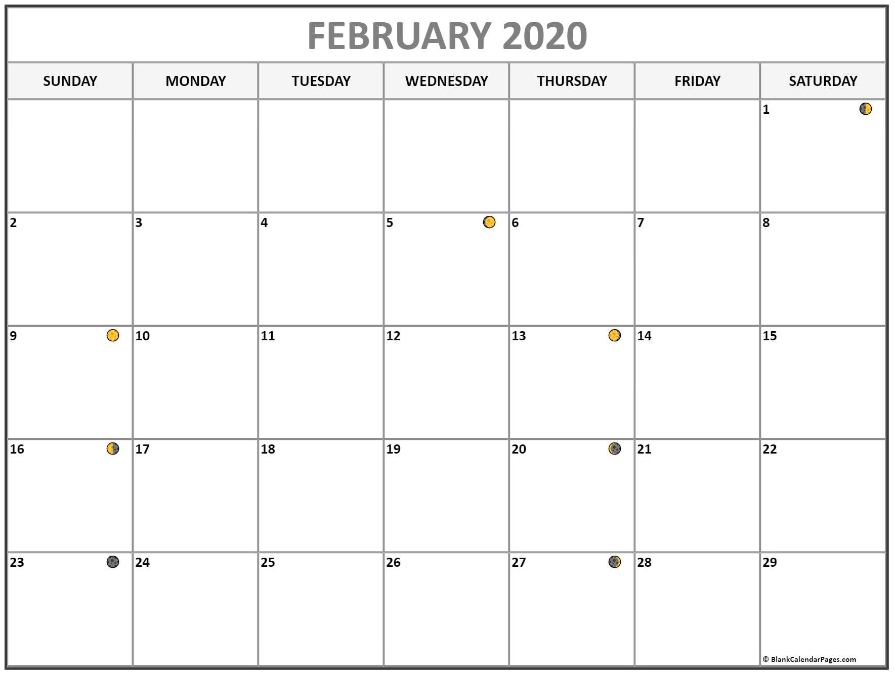 Lunar New February 2020 Full Moon Phases Calendar