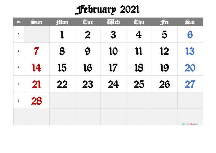 February Calendar 2021 Template