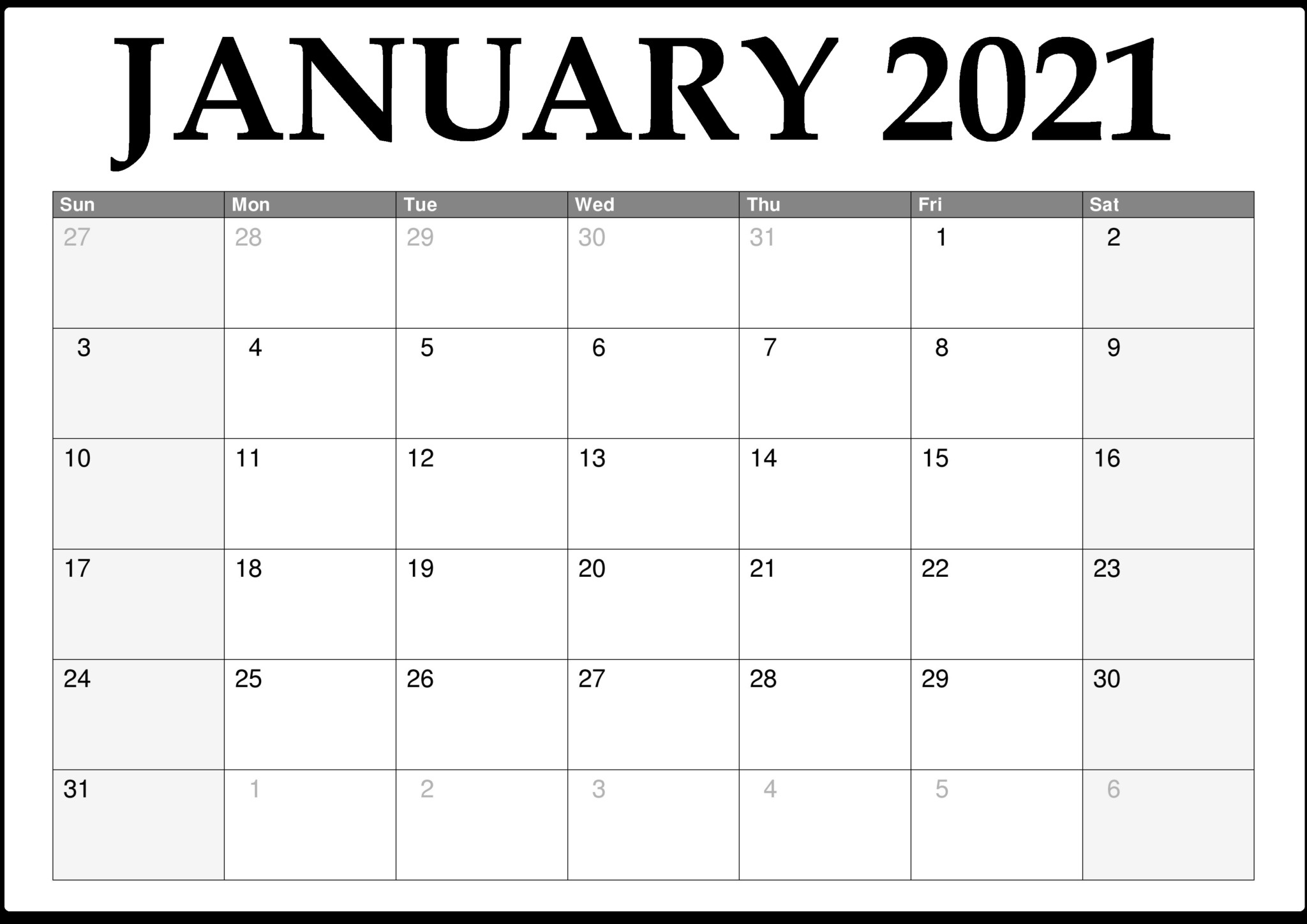 January 2021 Calendar Printable in 2021