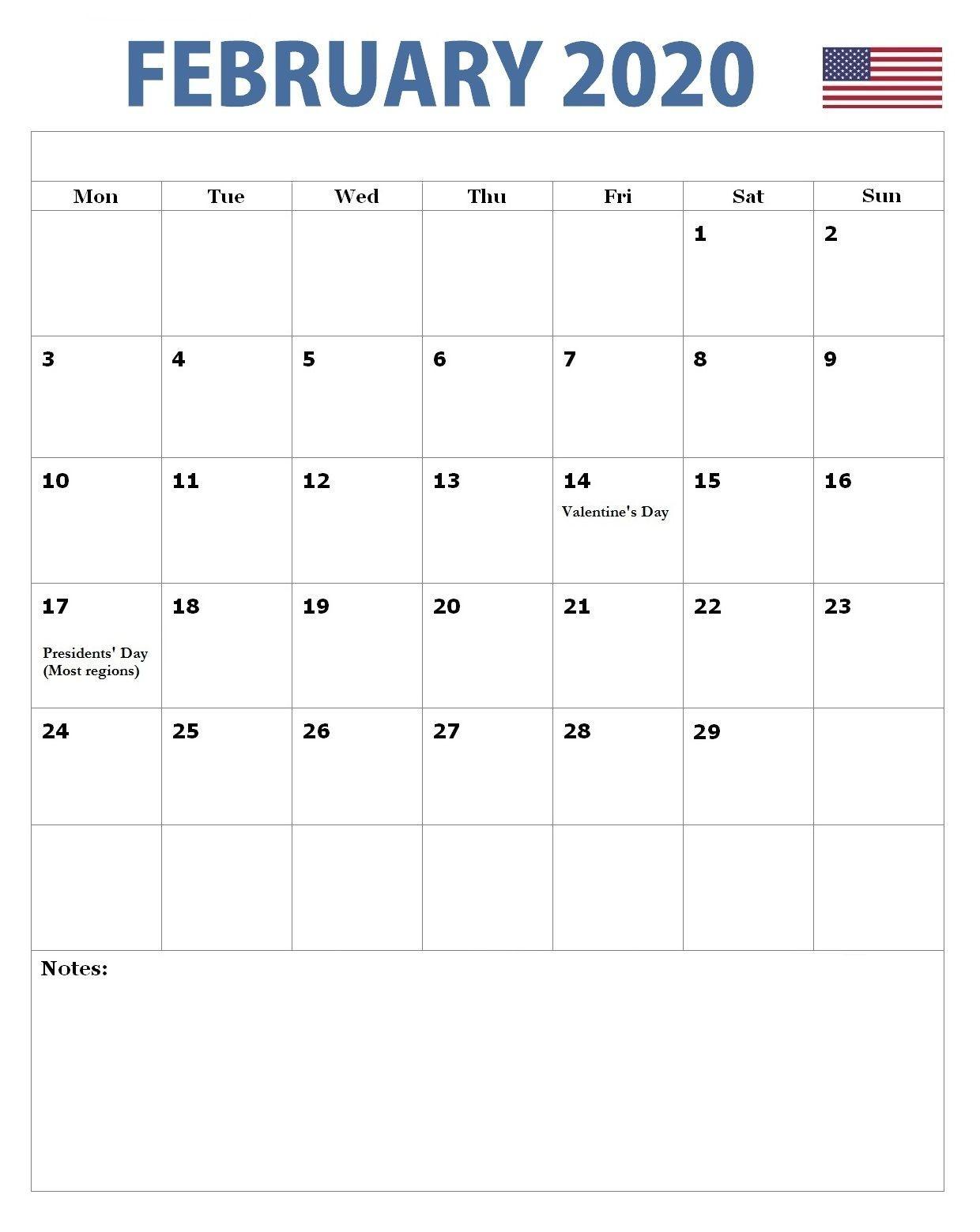 February 2020 American Holidays Calendar