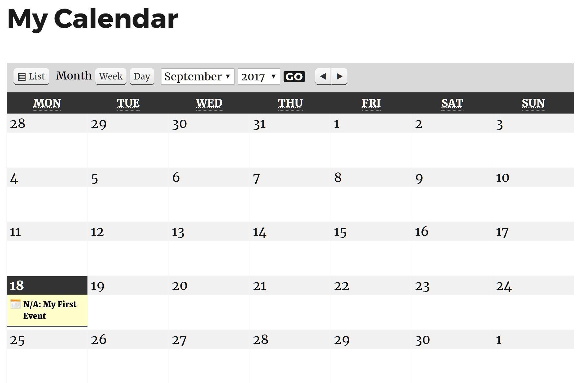 Year View Calendar WordPress