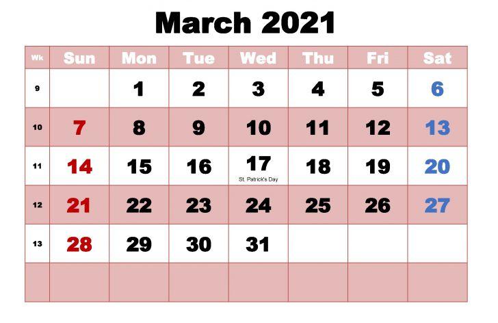 March Calendar 2021 Template