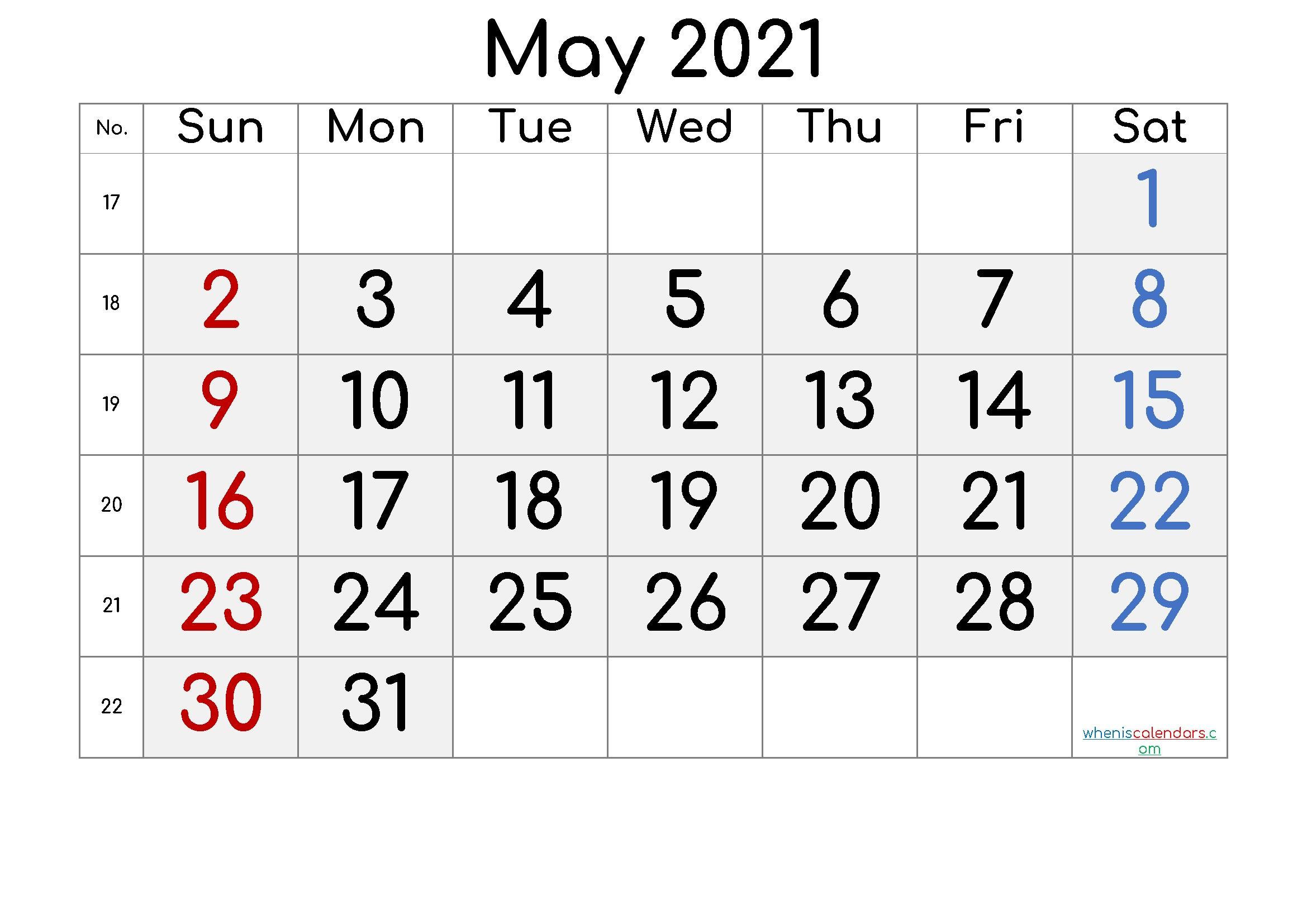 Free Printable May 2021 Calendar Premium