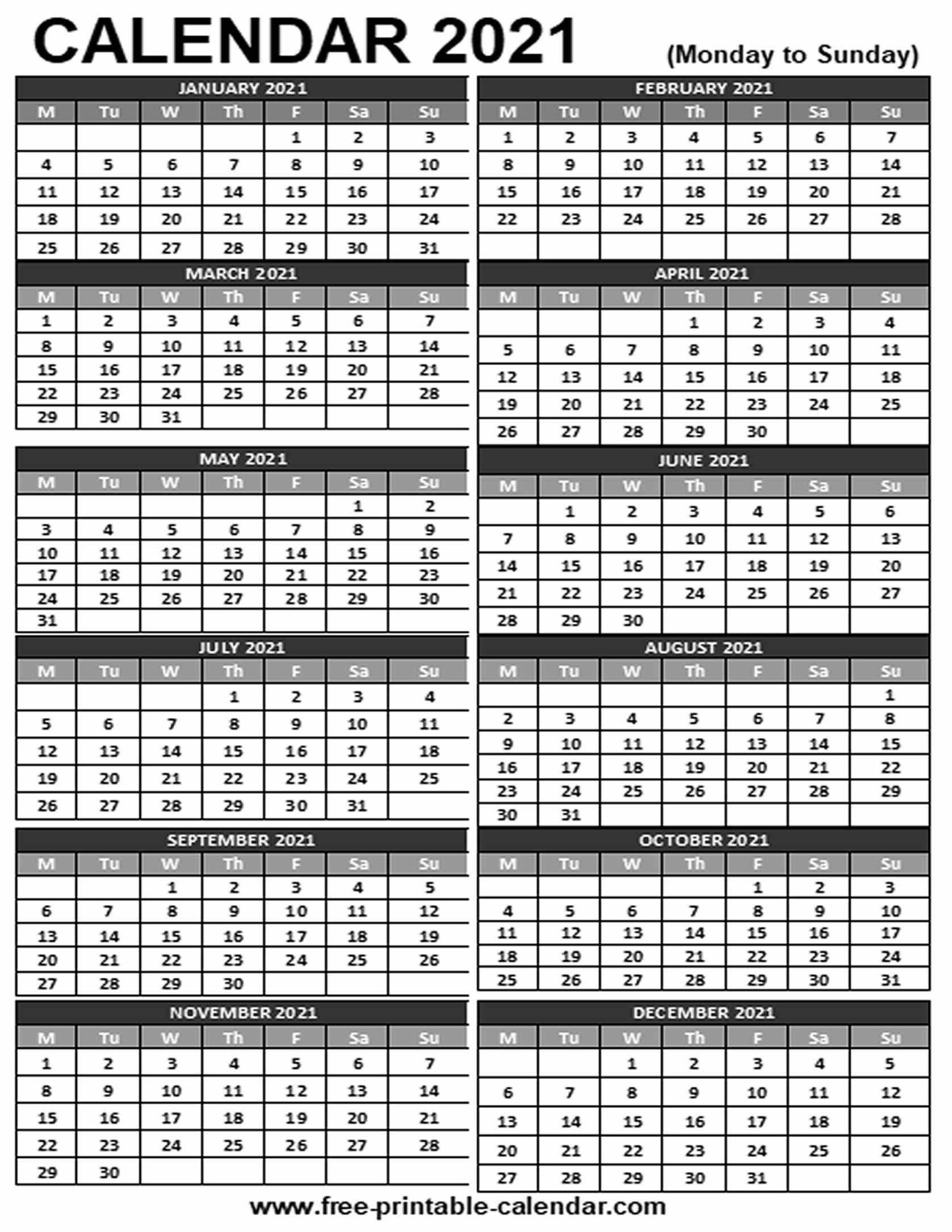 2021 Printable Calendar Free printable calendar