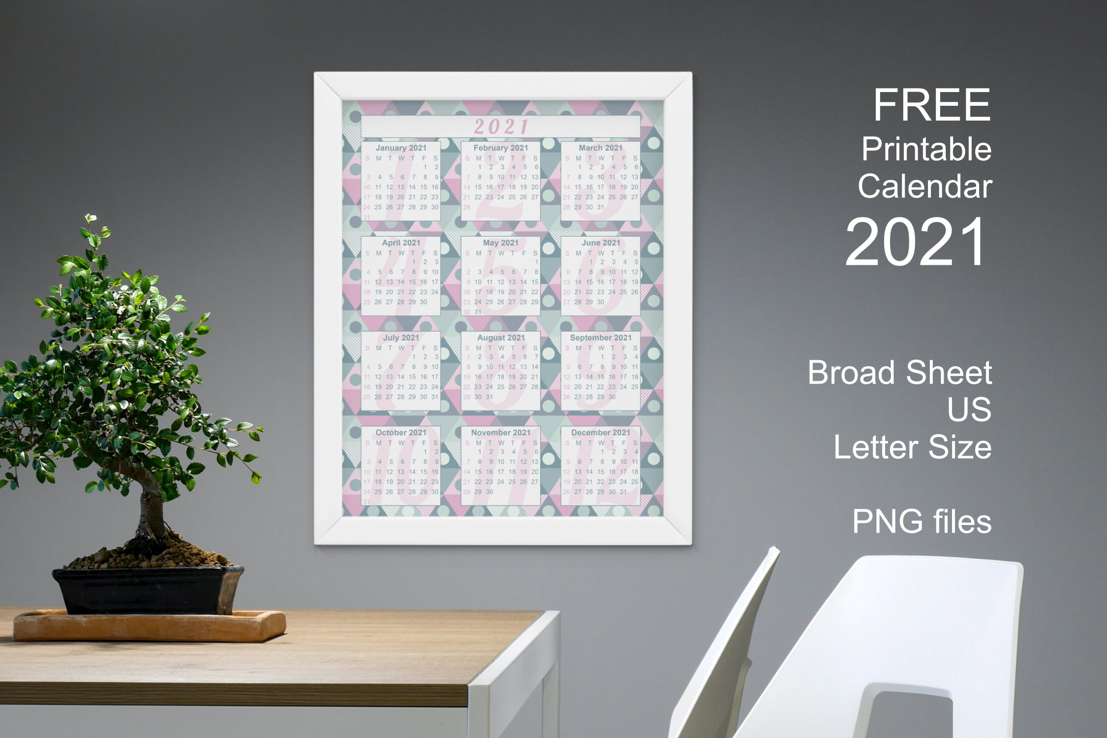 Free Calendar 2021 Blue Pastel Geometric