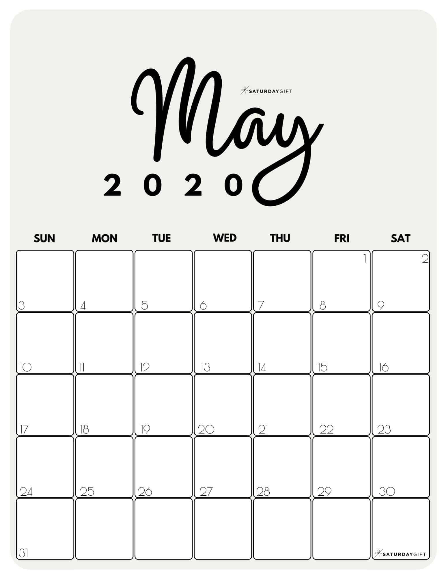 Cute & Free Printable May 2021 Calendar