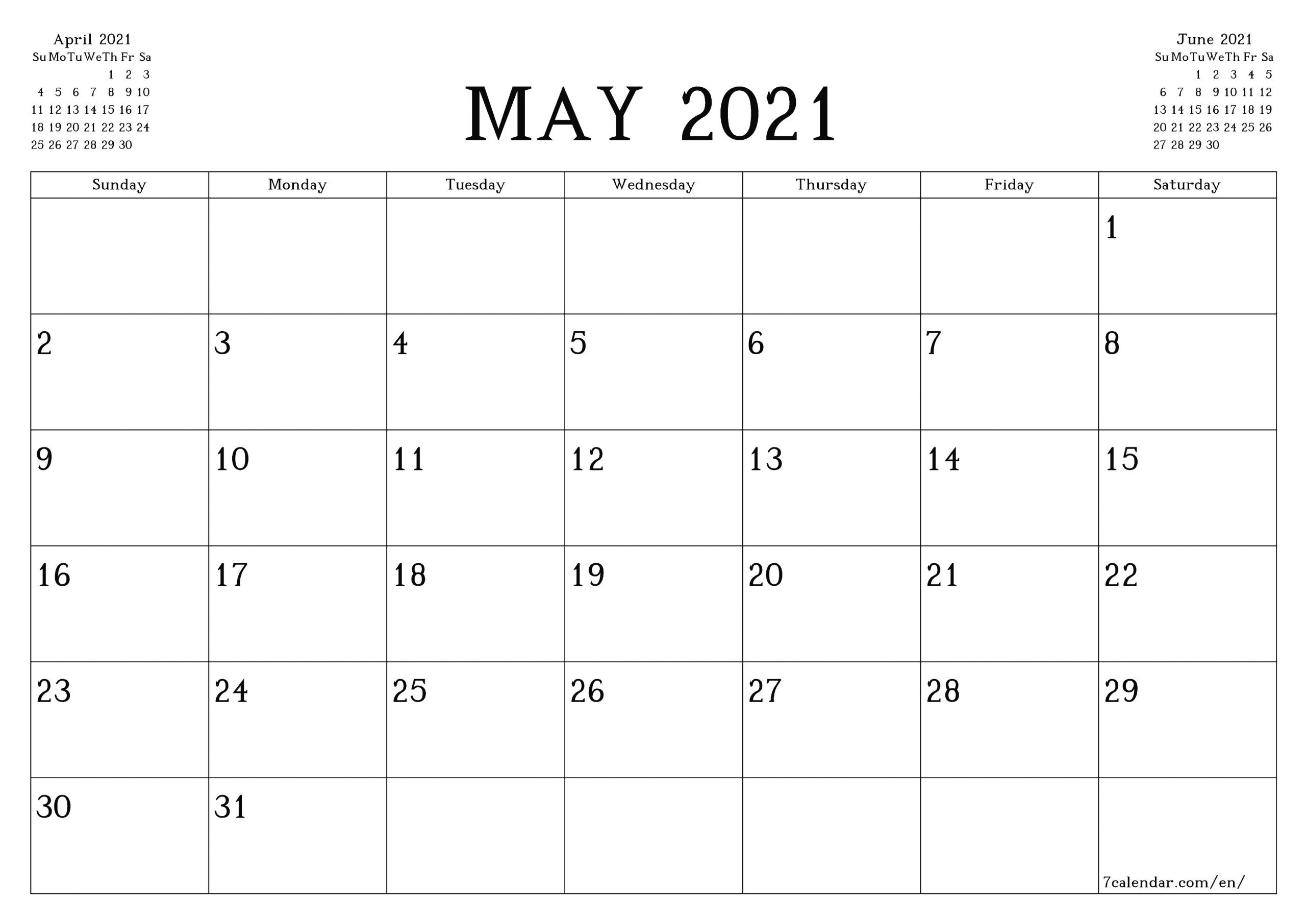 Free printable blank monthly calendar and planner for May