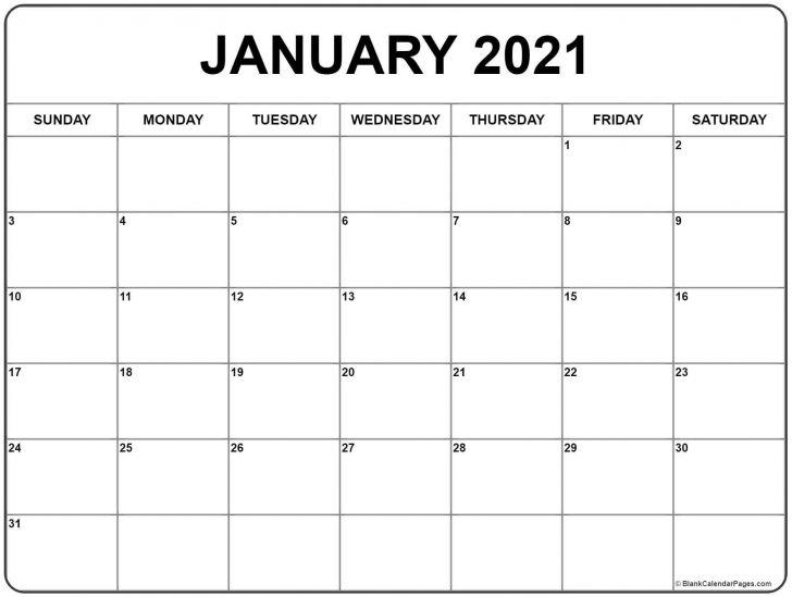 Template Of January 2021 Blank Calendar