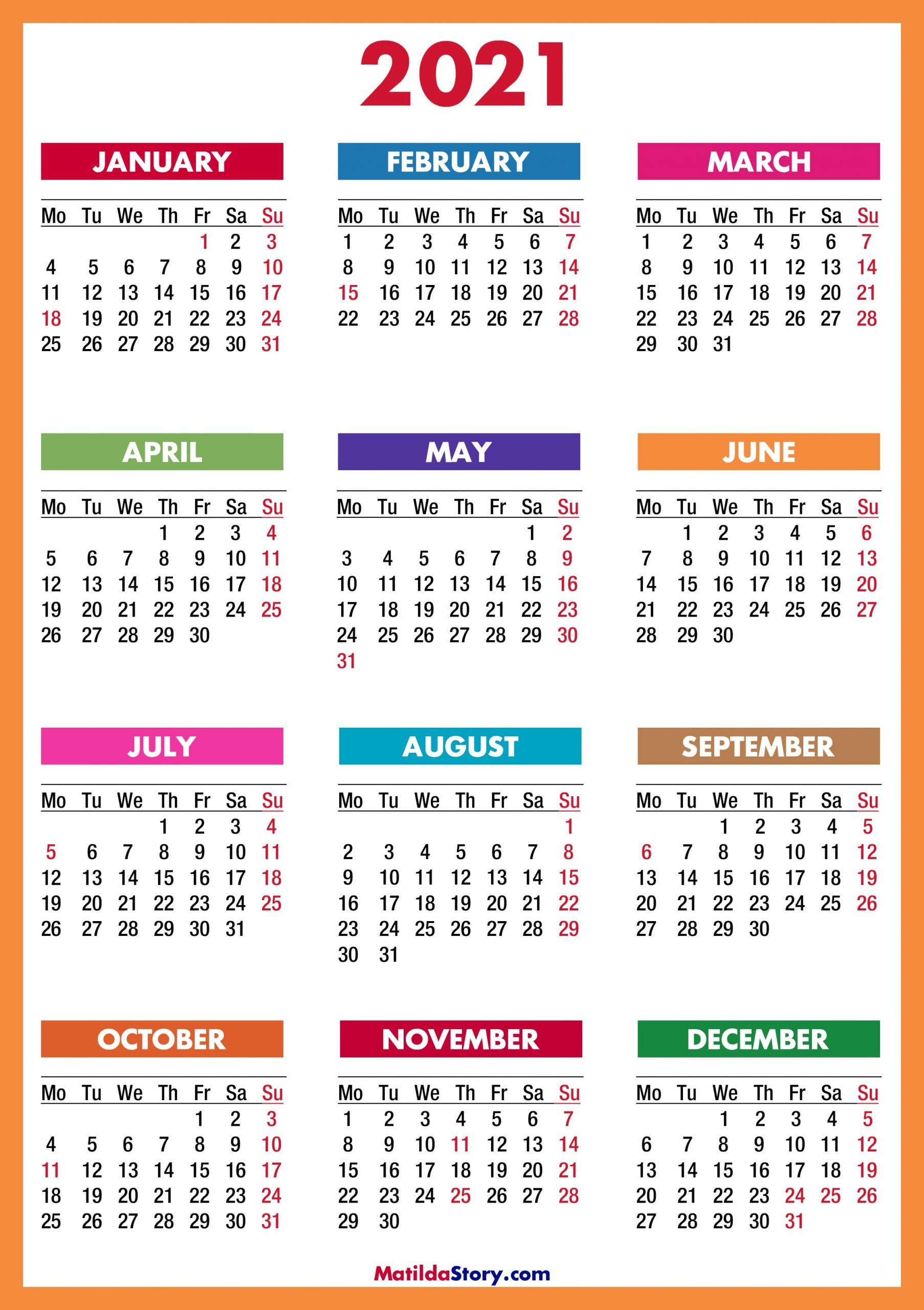 2021 Calendar Printable Free Colorful Red Orange