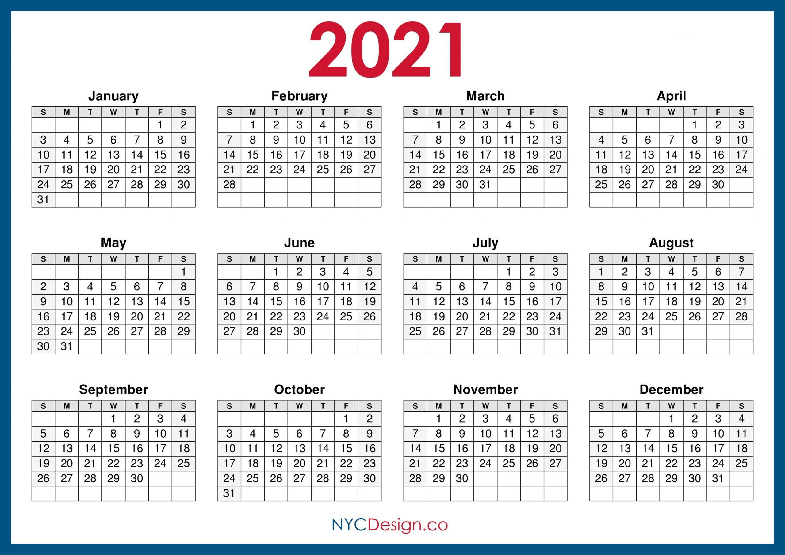 2021 Calendar Printable Free Horizontal Blue HD