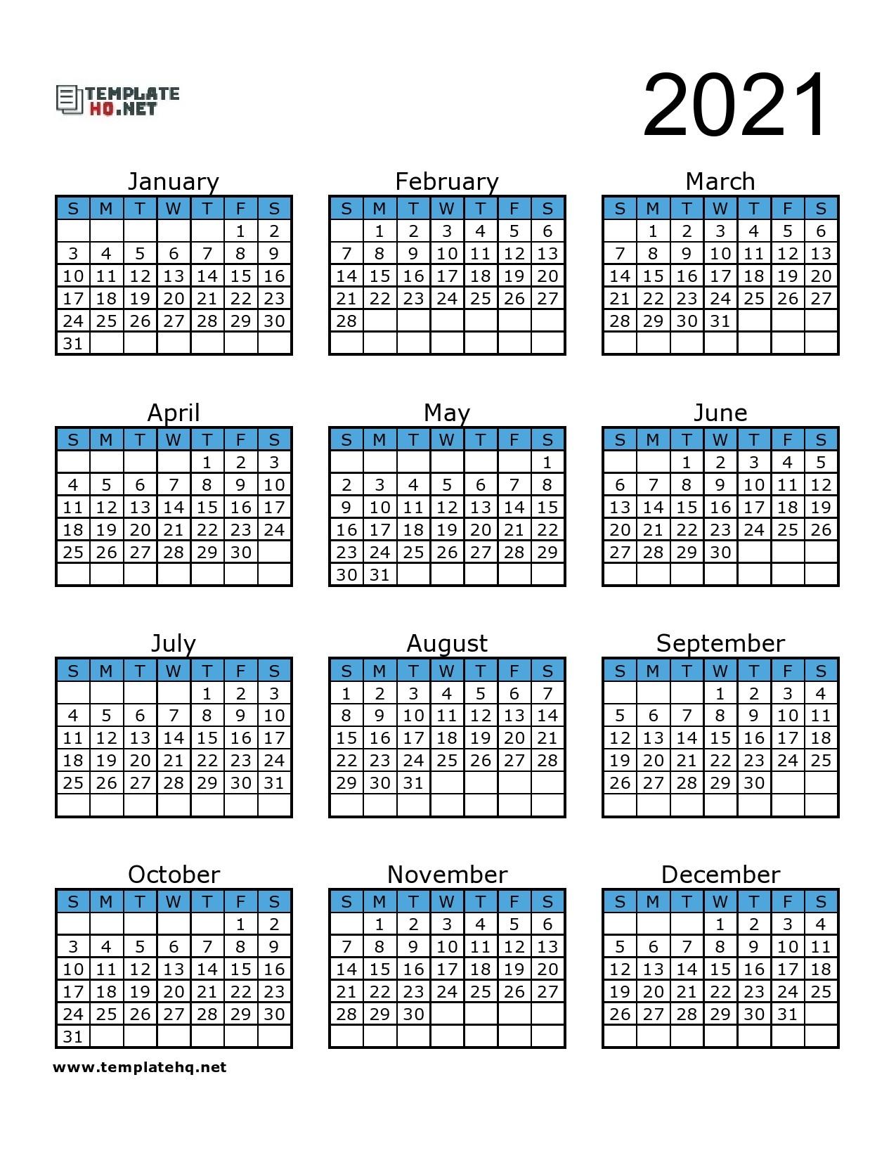 Free 2021 Calendar Printable Template Hq