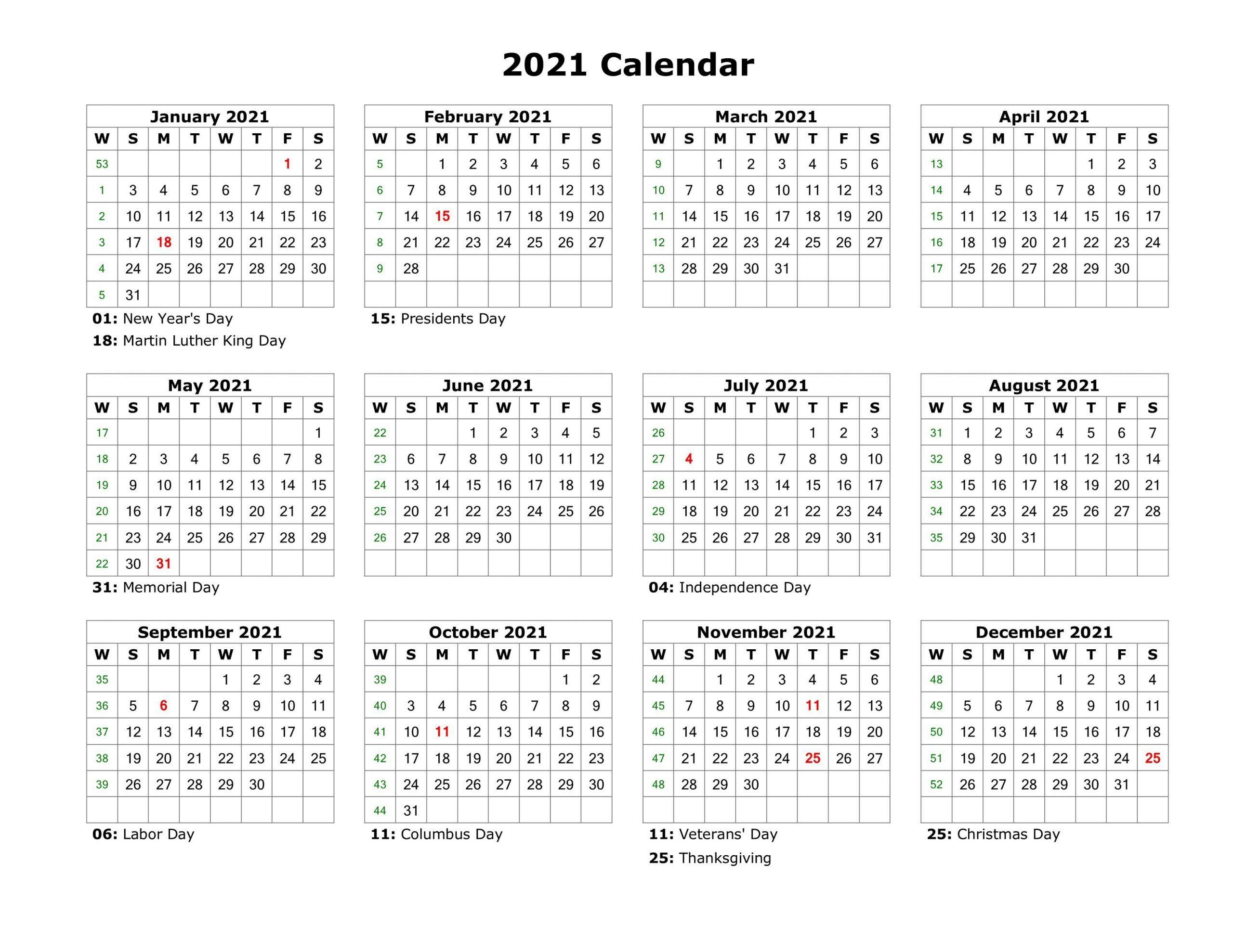 2021 Printable Calendar Templates Yearly Work Planner