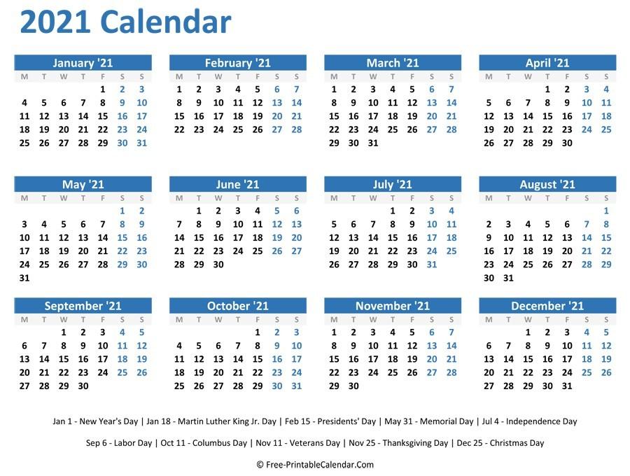 2021 Yearly Calendar Printable Horizontal