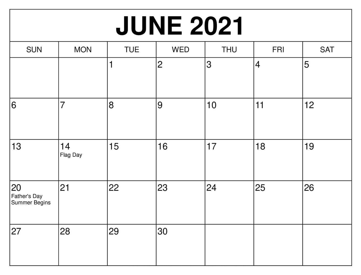 June 2021 Calendar – Free Calendar Template with Holidays