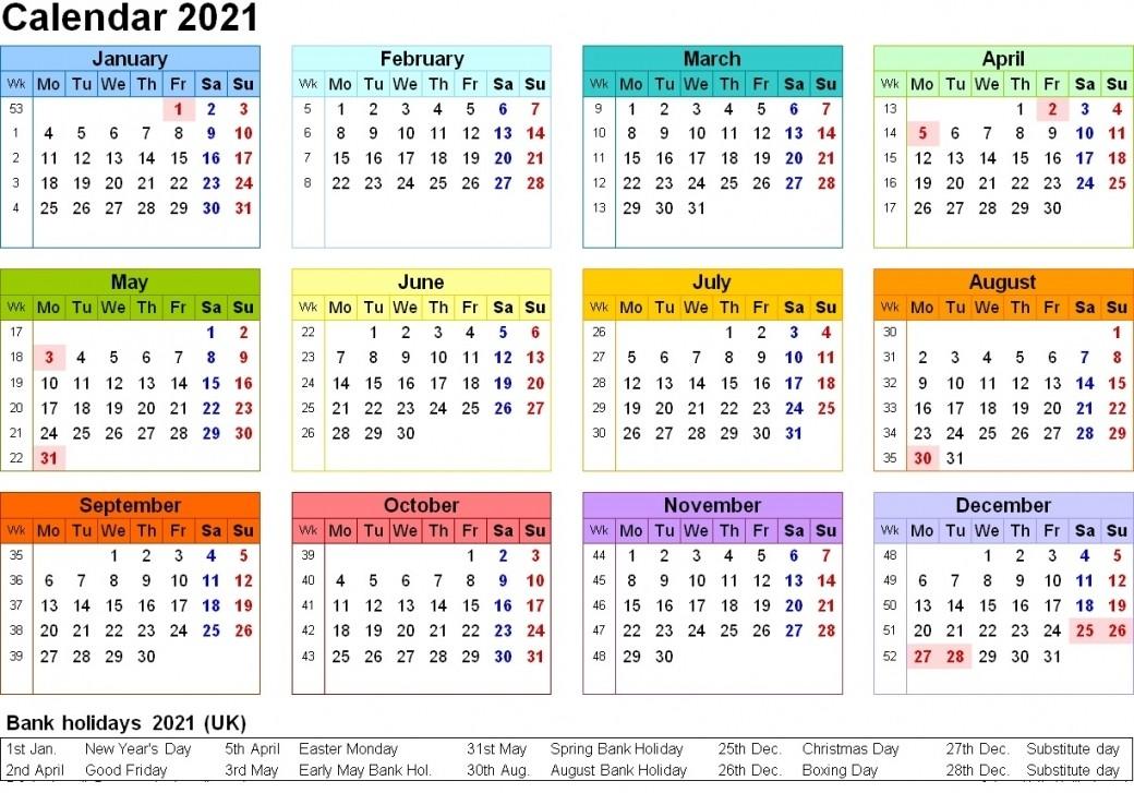 Printable 2021 Calendar Uk