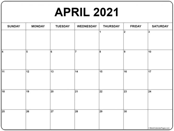 2021 April Calendar Printable