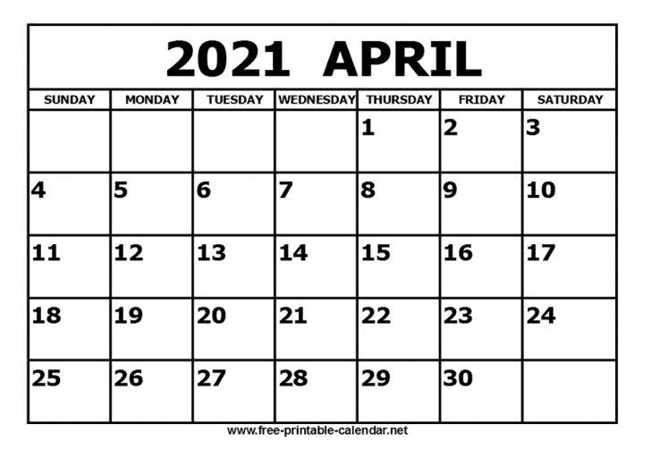 2021 Calendar April Month