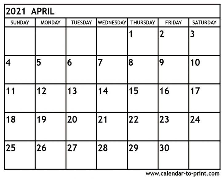 2021 Calendar for April