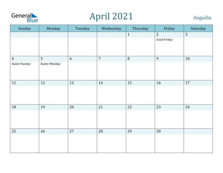 A Calendar for April 2021