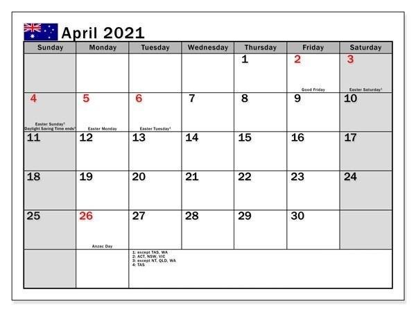 April 2021 Calendar with Festivals