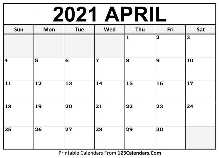 Blank Calendar April 2021
