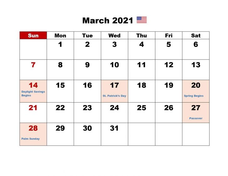 Calendar March 2021 with Holidays