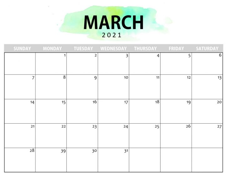 Calendar Of 2021 March