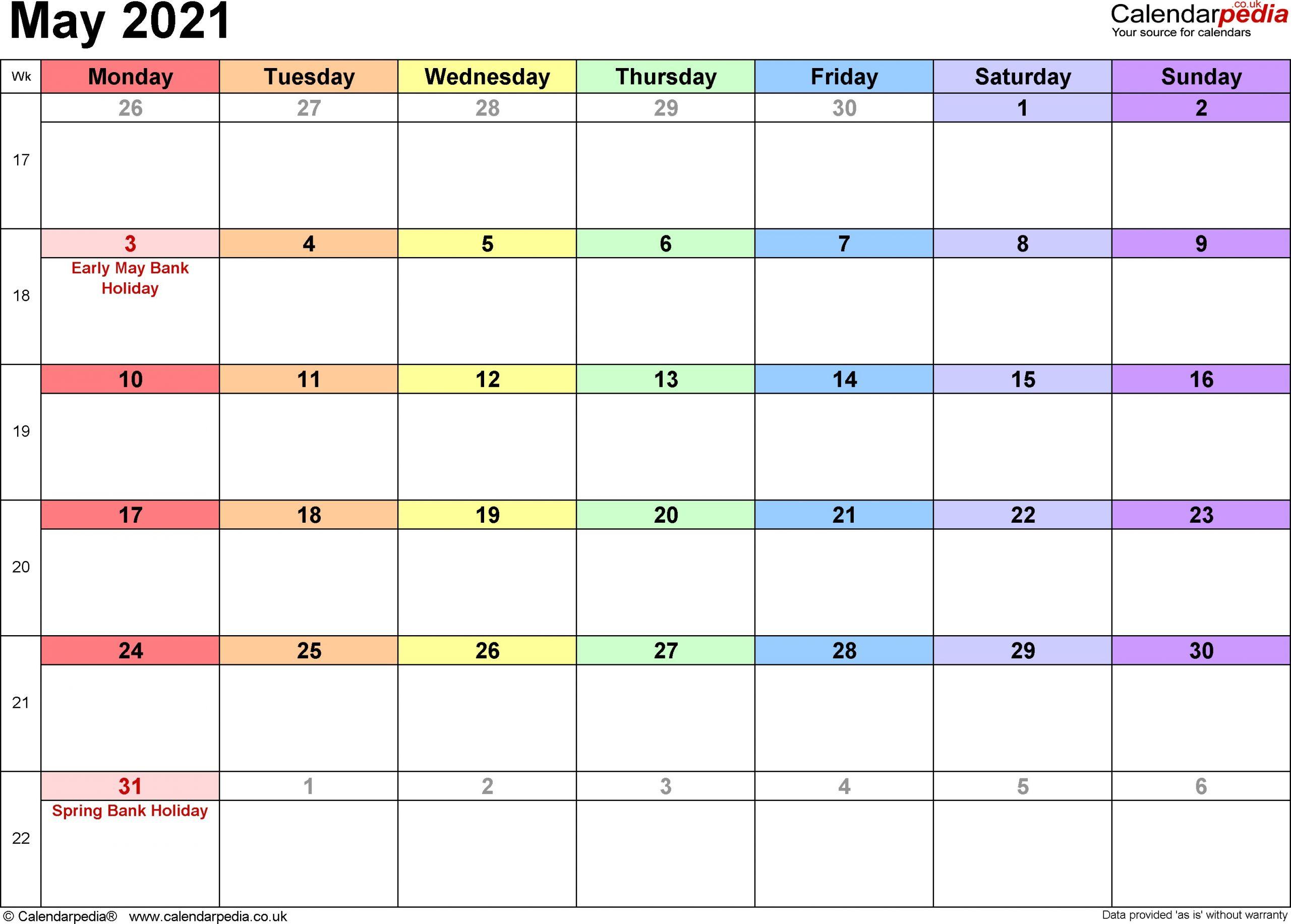 Calendar May 2021 UK Bank Holidays Excel PDF Word Templates