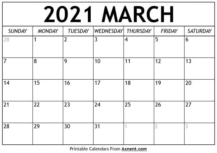 Calendar Printable March 2021