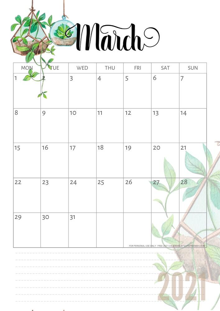 2021 Calendar Free Printable Plants Theme Cute