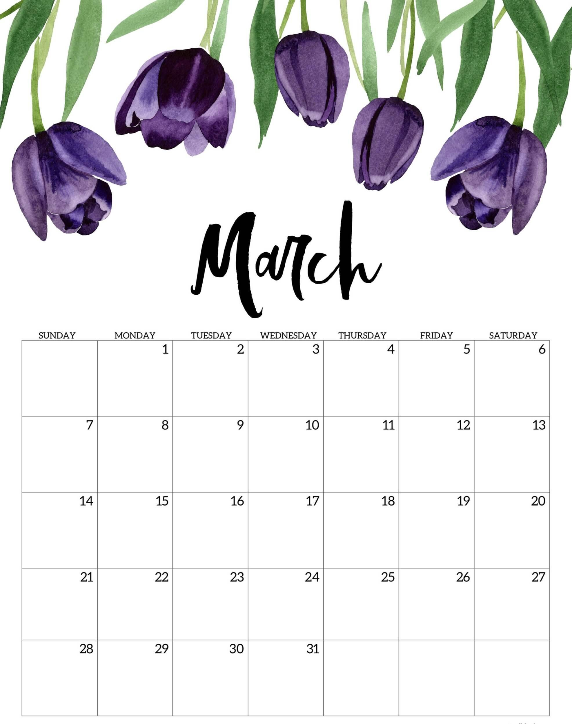 Cute March 2021 Calendar With Notes