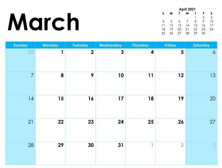 Daily Calendar 2021 March