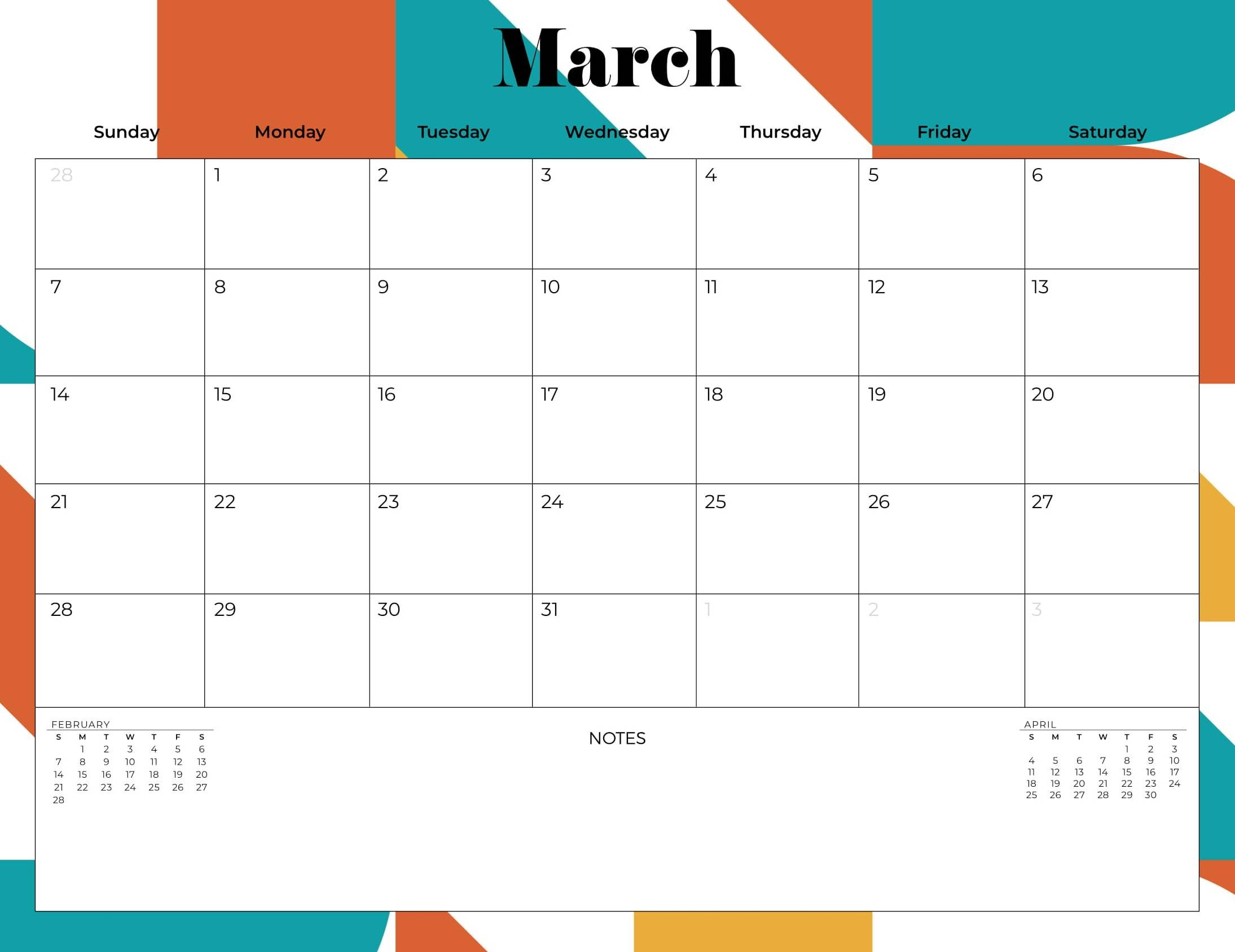 Free Printable Calendar 2021 March Monthly Web Galaxy