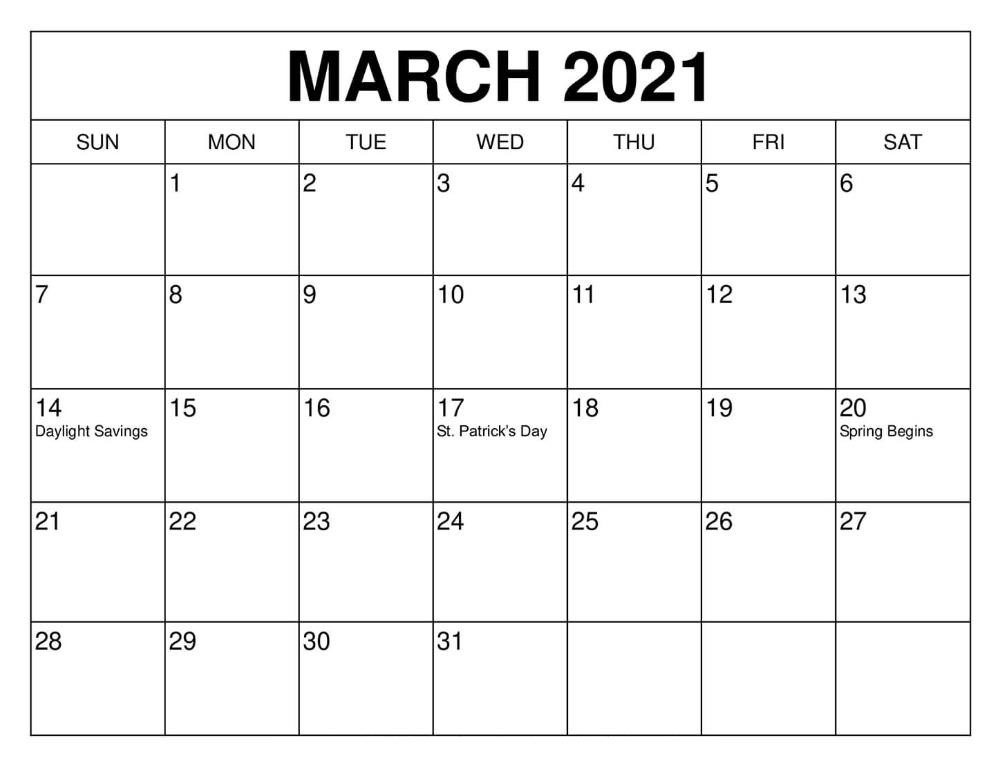 Calendar March 2021 Printable Free Download With