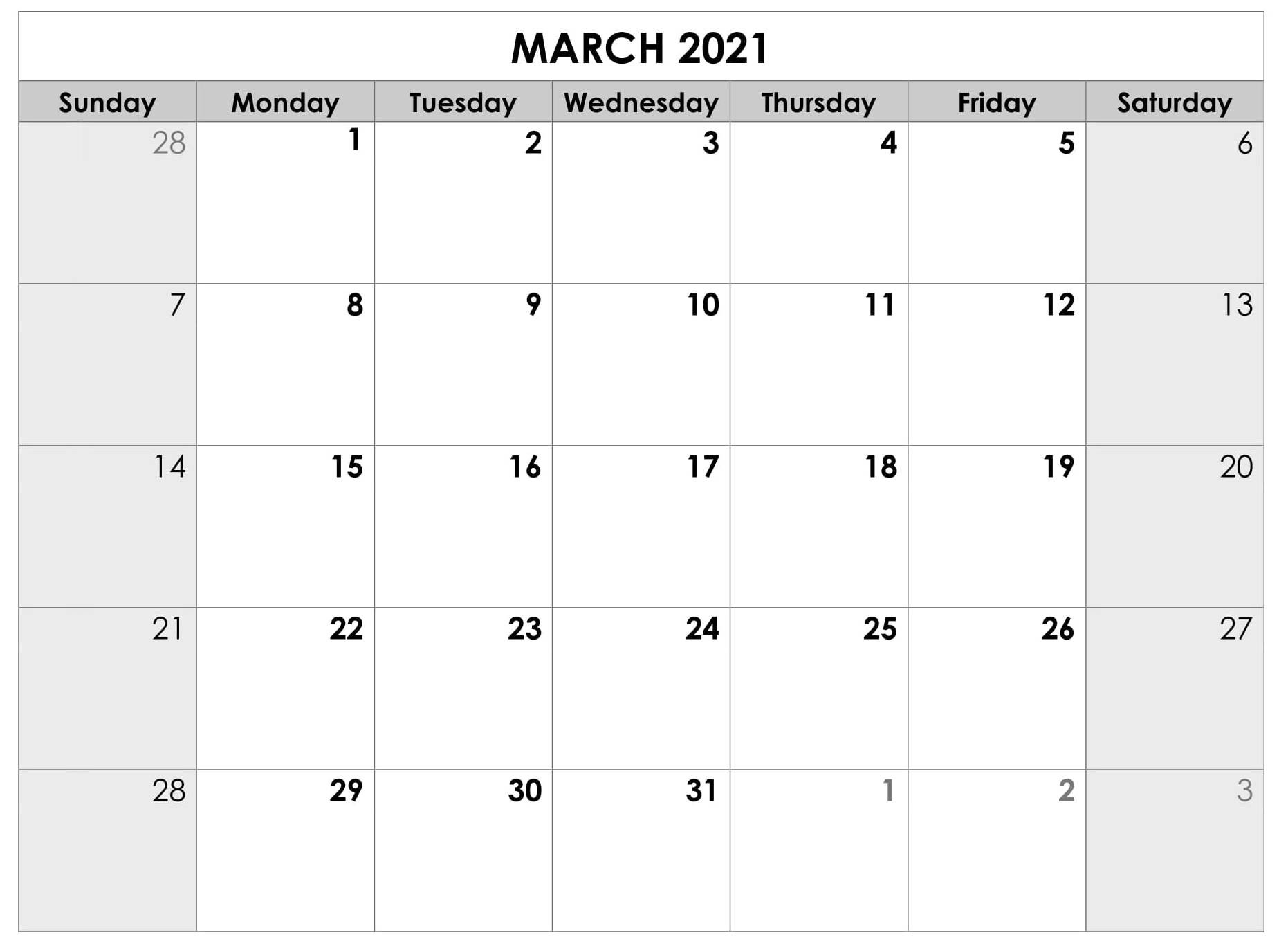 Free Calendar For March 2021 Template